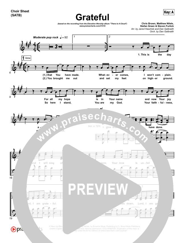 Grateful Choir Sheet (SATB) (Elevation Worship)