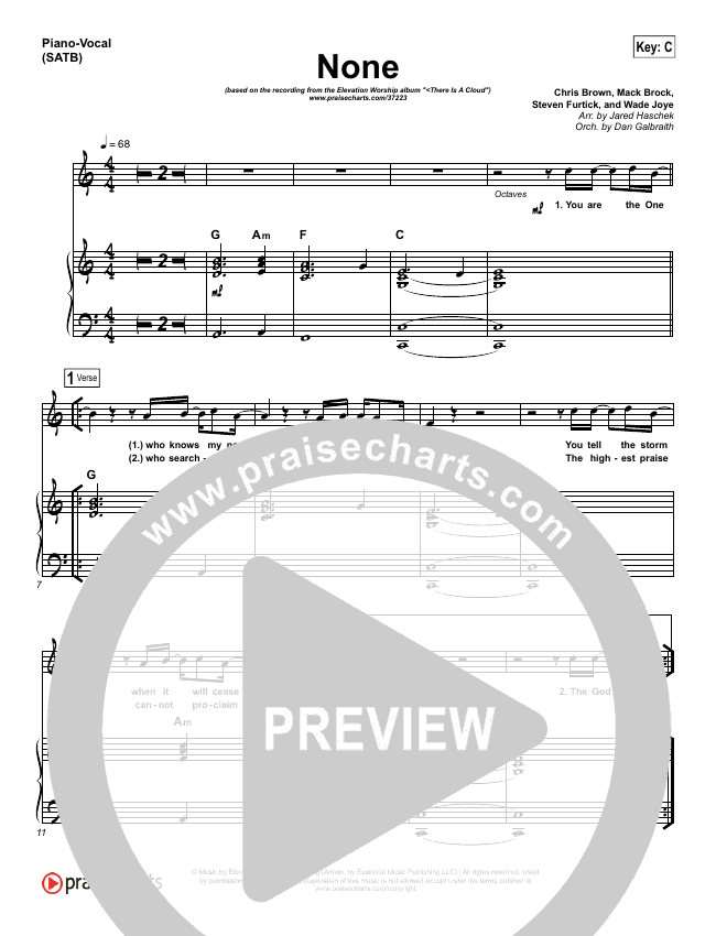 None Piano/Vocal (SATB) (Elevation Worship)