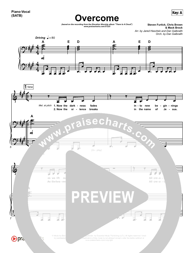 Overcome Piano/Vocal (SATB) (Elevation Worship)