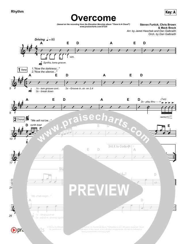 Overcome Rhythm Chart (Elevation Worship)