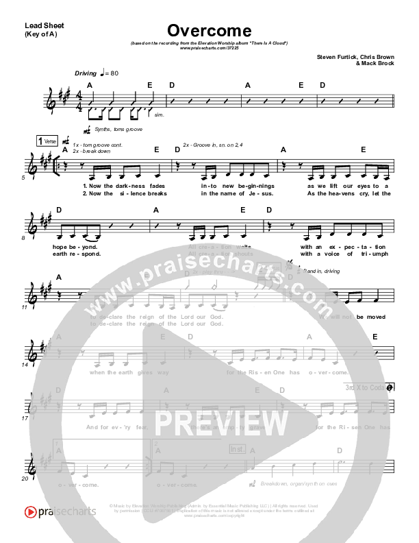 Overcome Lead Sheet (Melody) (Elevation Worship)