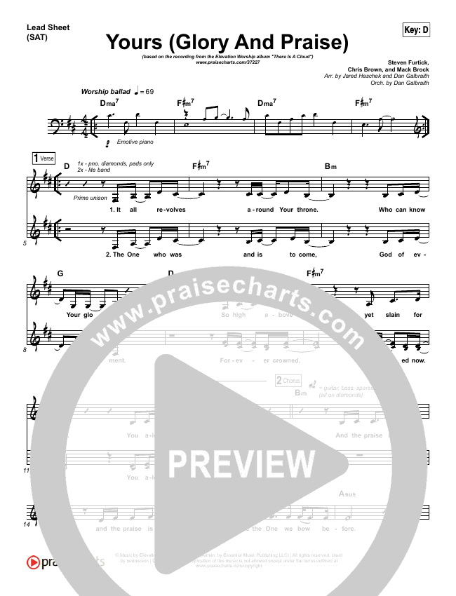 Yours Glory And Praise Lead Sheet Pianovocal Elevation
