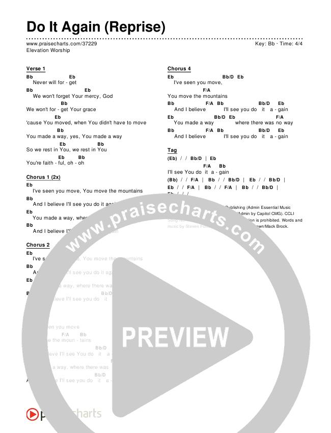 Do It Again (Reprise) Chords & Lyrics (Elevation Worship)