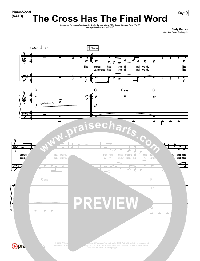 The Cross Has The Final Word Piano/Vocal (SATB) (Cody Carnes)