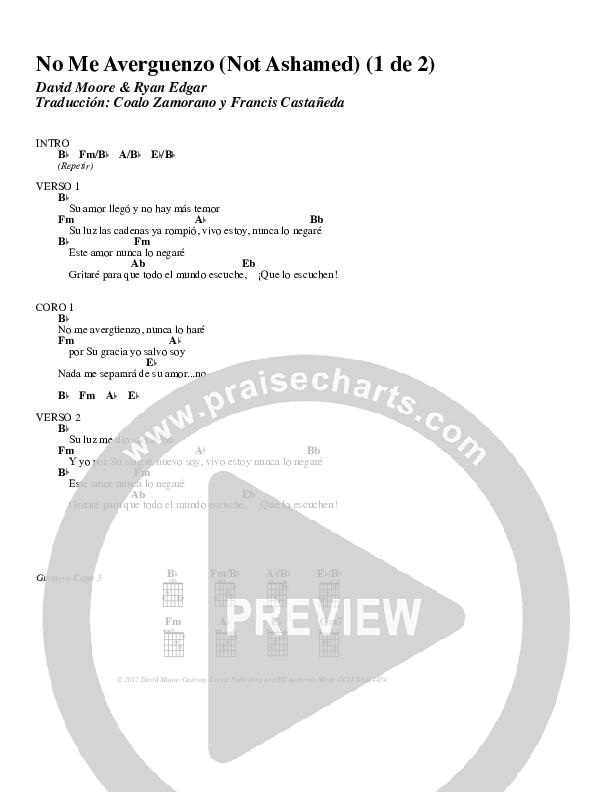 No Me Averguenzo (Not Ashamed) Chord Chart (Gateway Worship)