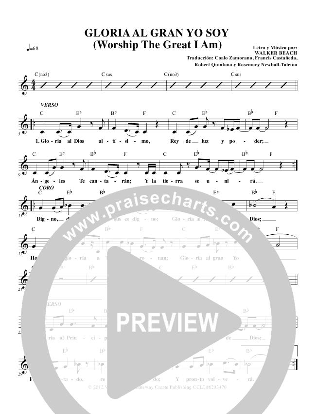 Gloria Al Gran Yo Soy (Worship The Great I Am) Lead Sheet & Piano ...