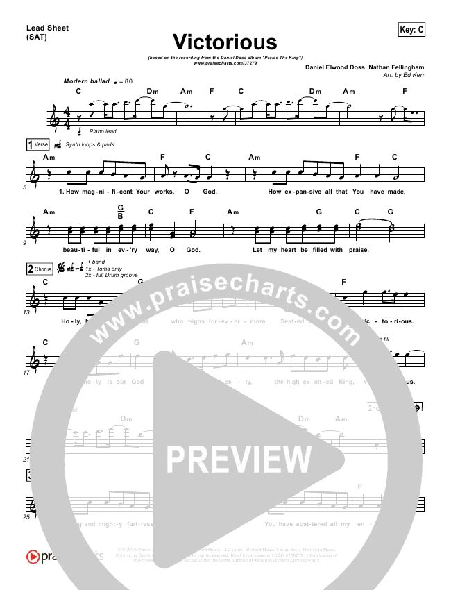 Victorious Lead Sheet (Daniel Doss)