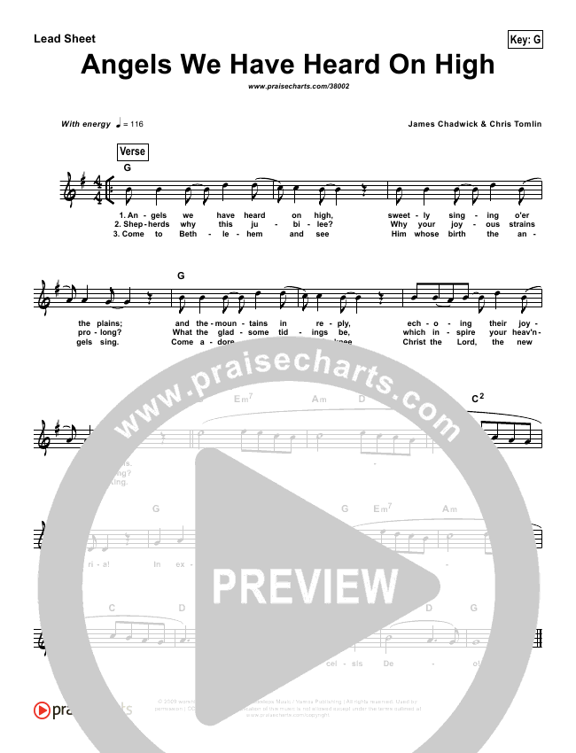 Angels We Have Heard on High (Simplified) Lead Sheet (Chris Tomlin)
