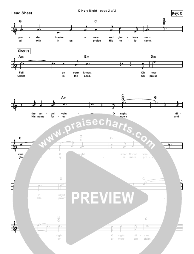 O Holy Night (Simplified) Lead Sheet (Chris Tomlin)
