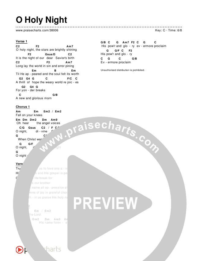 O Holy Night (Simplified) Chords & Lyrics (Chris Tomlin)