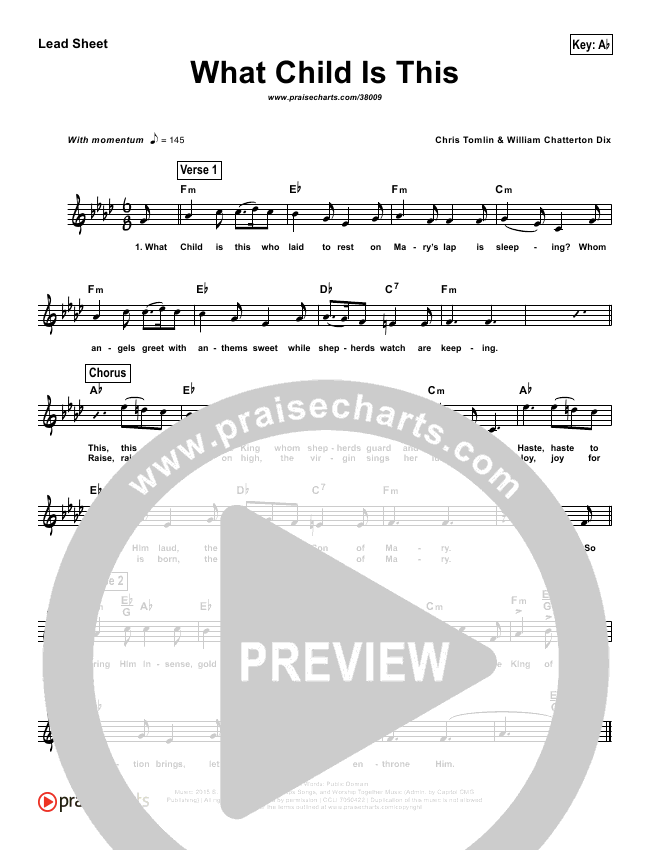 What Child Is This (Simplified) Lead Sheet (Chris Tomlin / All Sons & Daughters)