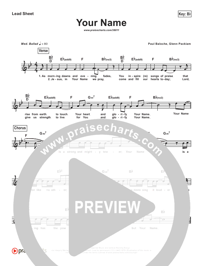 Your Name (Simplified) Lead Sheet ()