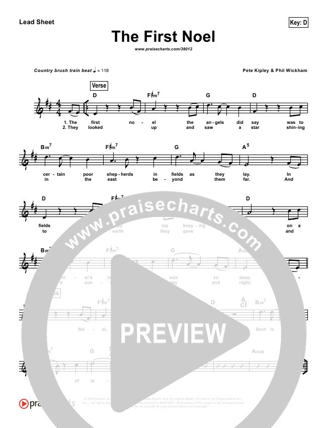 The First Noel (Simplified) Lead Sheet (Phil Wickham)