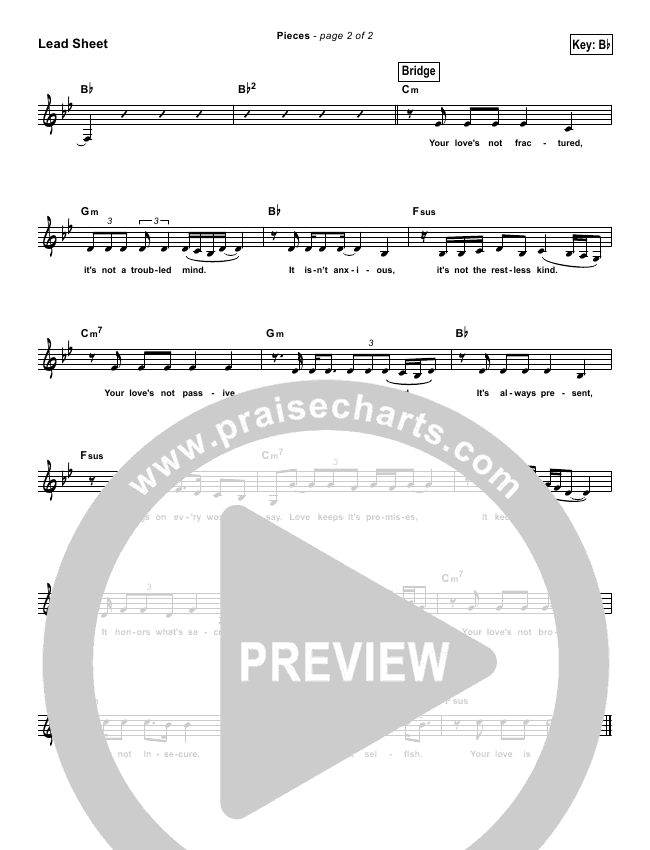 Pieces (Simplified) Lead Sheet ()