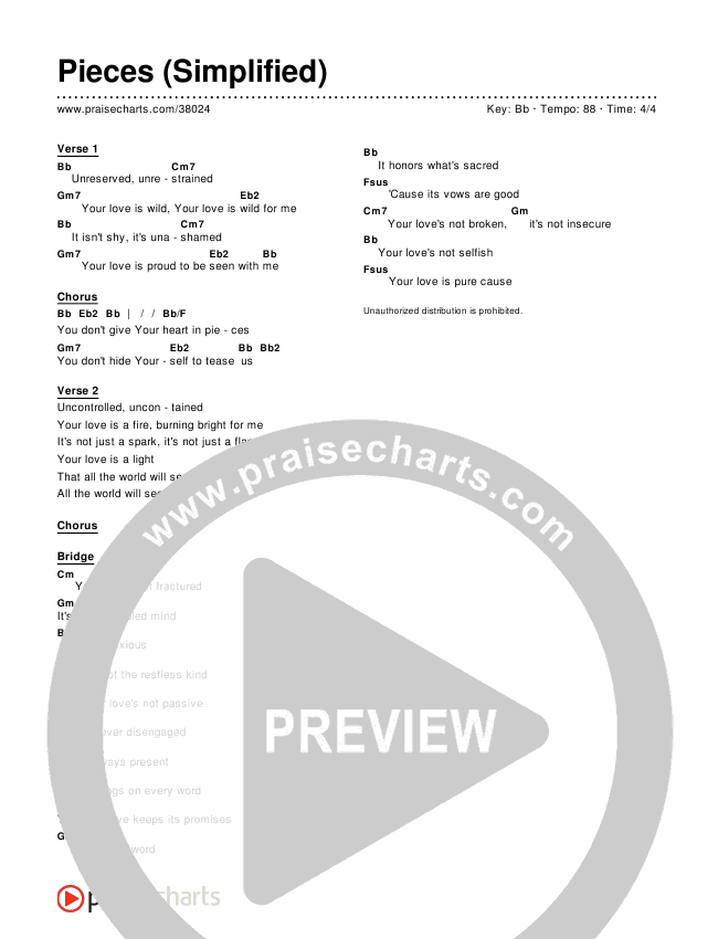 Pieces (Simplified) Chord Chart ()