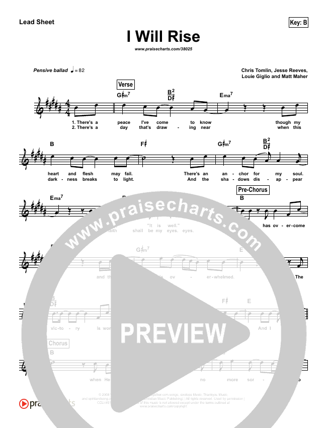 I Will Rise (Simplified) Lead Sheet (Melody) (Chris Tomlin)