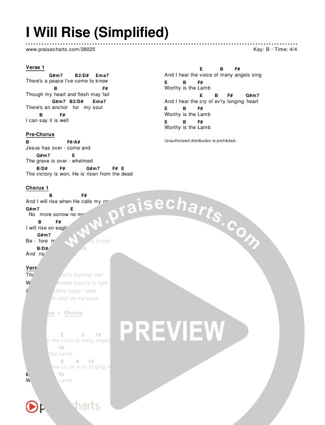 I Will Rise (Simplified) Chords & Lyrics (Chris Tomlin)