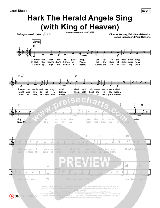 Hark The Herald (with King Of Heaven) (Simplified) Lead Sheet ()