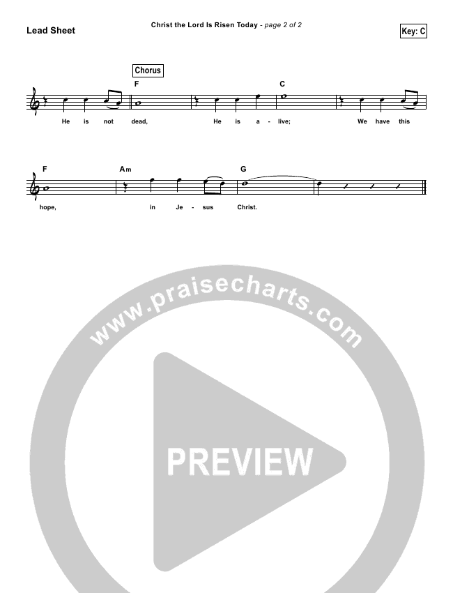 Christ The Lord Is Risen Today (He Is Not Dead) (Simplified) Lead Sheet ()