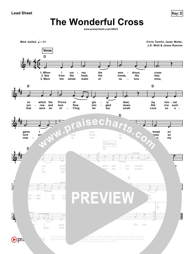 The Wonderful Cross (Simplified) Lead Sheet ()