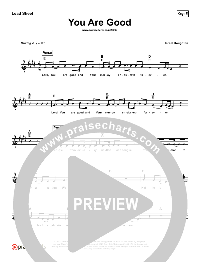 You Are Good  (Simplified) Lead Sheet (Israel Houghton)