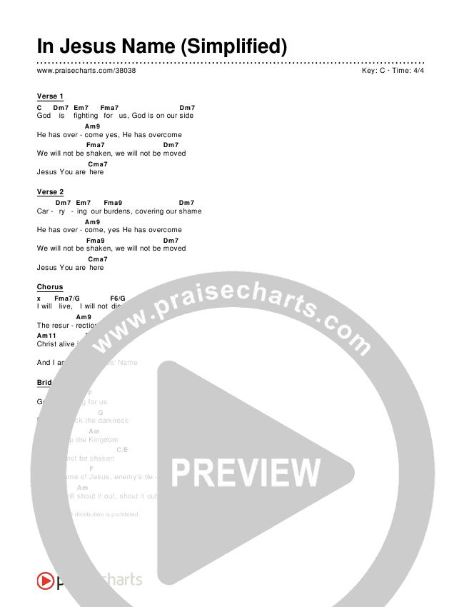 In Jesus' Name (Simplified) Chords & Lyrics ()