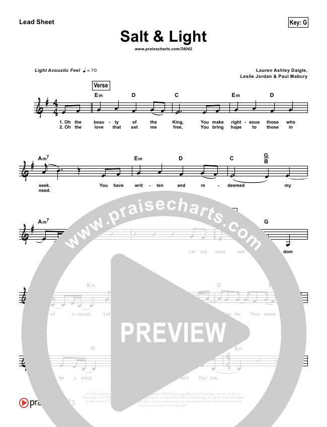 Salt & Light (Simplified) Lead Sheet ()