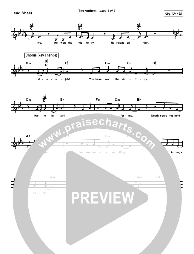 The Anthem (Simplified) Lead Sheet ()