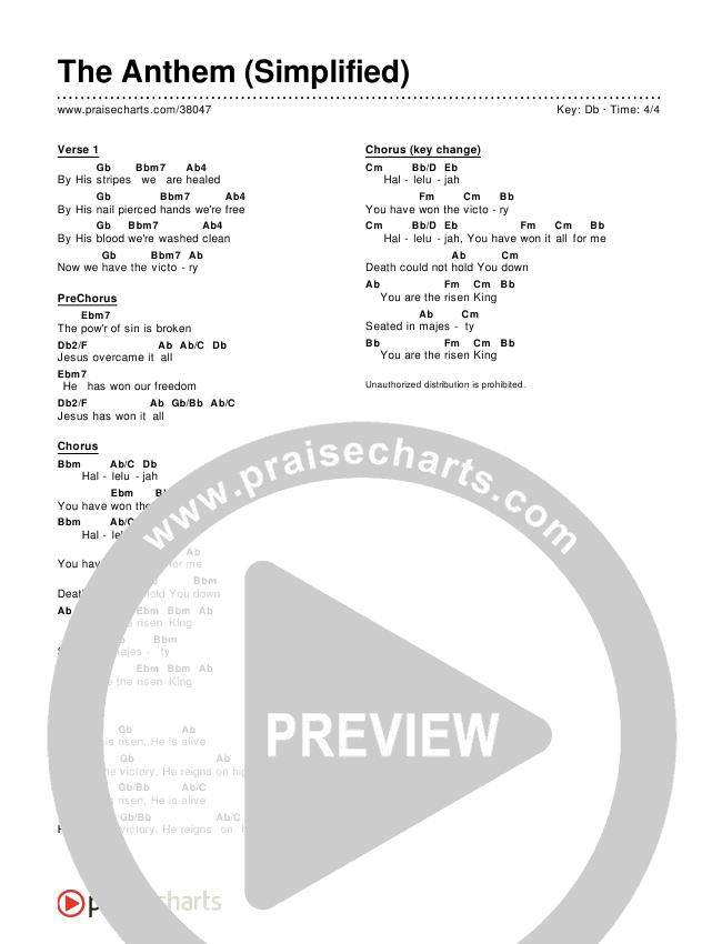 The Anthem (Simplified) Chords & Lyrics (Planetshakers)