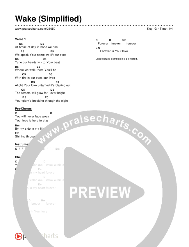 Wake (Simplified) Chord Chart ()