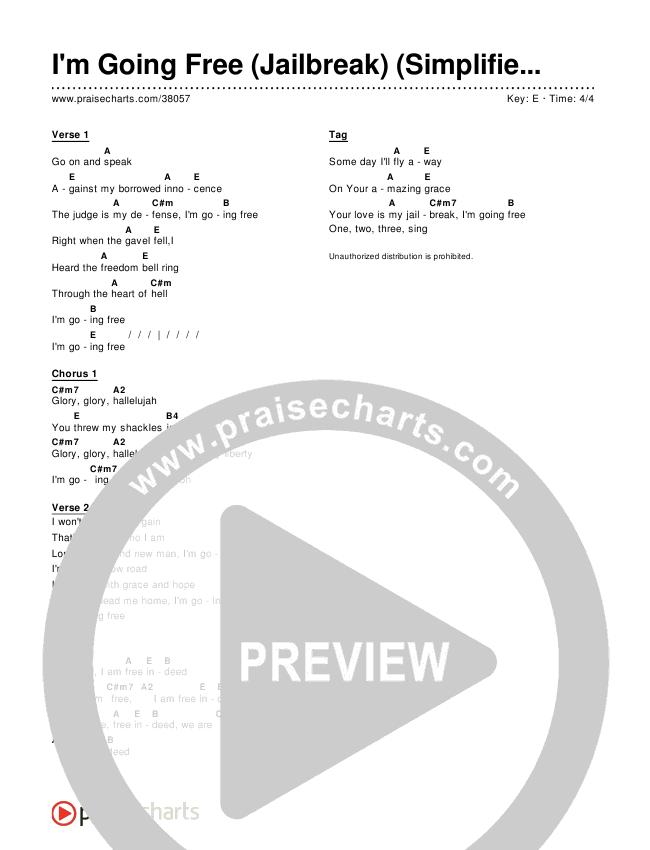 I'm Going Free (Jailbreak) (Simplified) Chord Chart ()