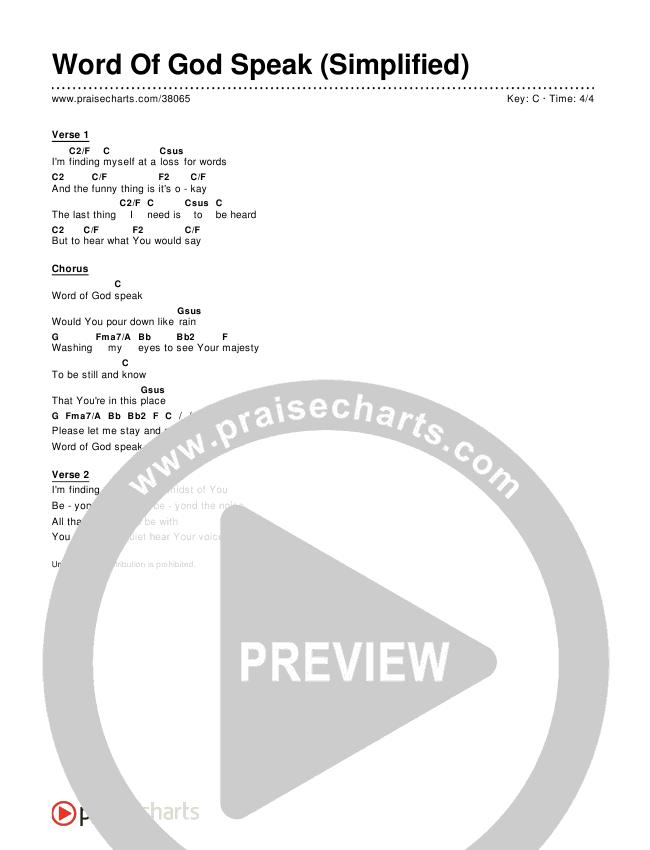 Word Of God Speak (Simplified) Chords & Lyrics ()