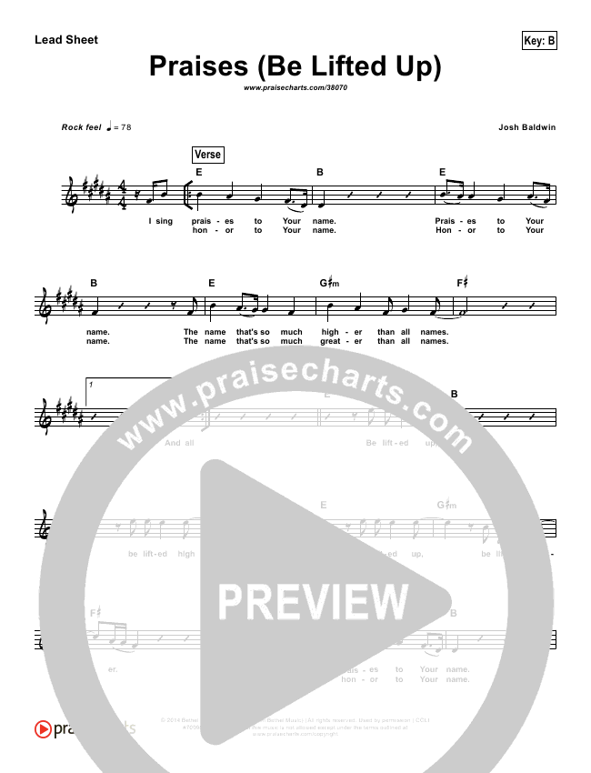 Praises (Be Lifted Up) (Simplified) Lead Sheet ()