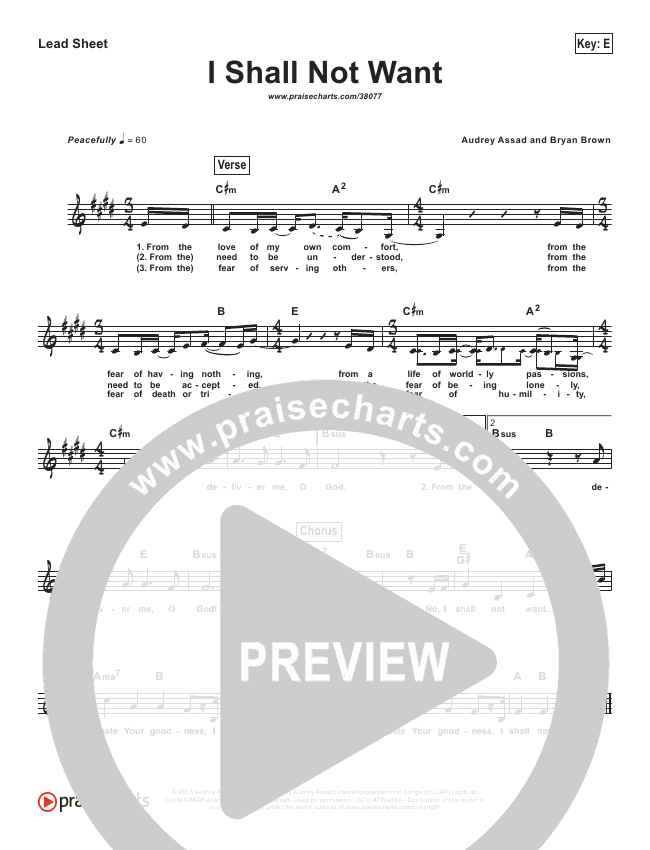 I Shall Not Want (Simplified) Lead Sheet ()