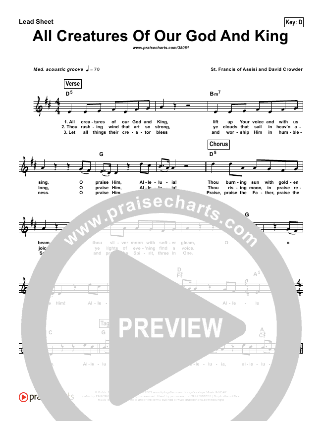 All Creatures Of Our God And King (Simplified) Lead Sheet (David Crowder)