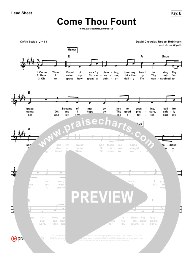 Come Thou Fount  (Simplified) Lead Sheet (Crowder / Passion)