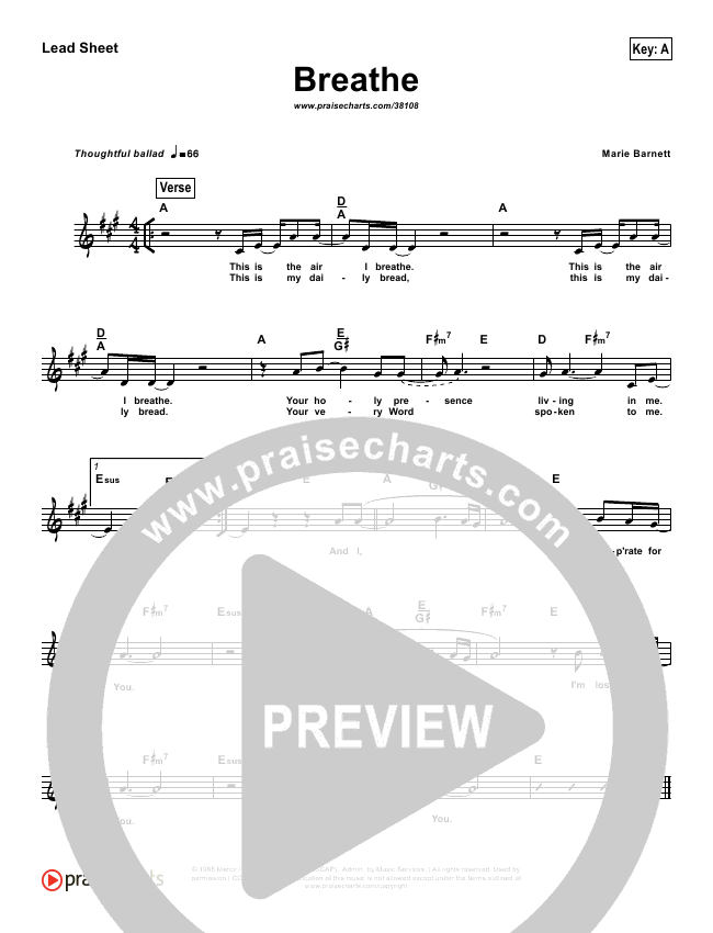 Breathe / Yearn (Simplified) Lead Sheet ()