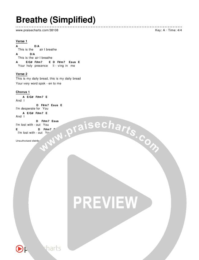 Breathe / Yearn (Simplified) Chords & Lyrics ()