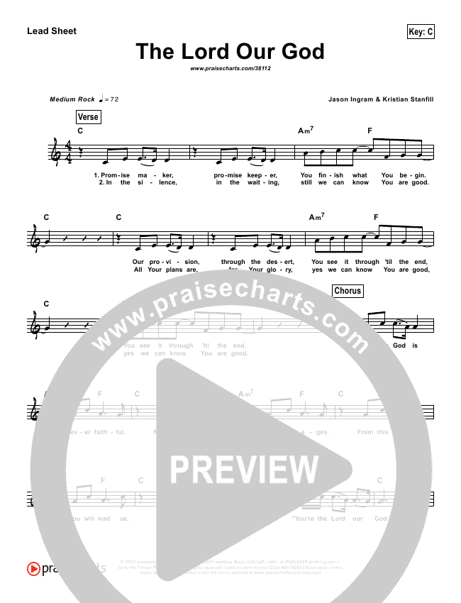 The Lord Our God (Simplified) Lead Sheet ()