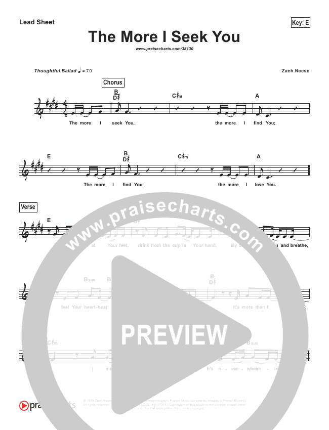 The More I Seek You (Simplified) Lead Sheet ()