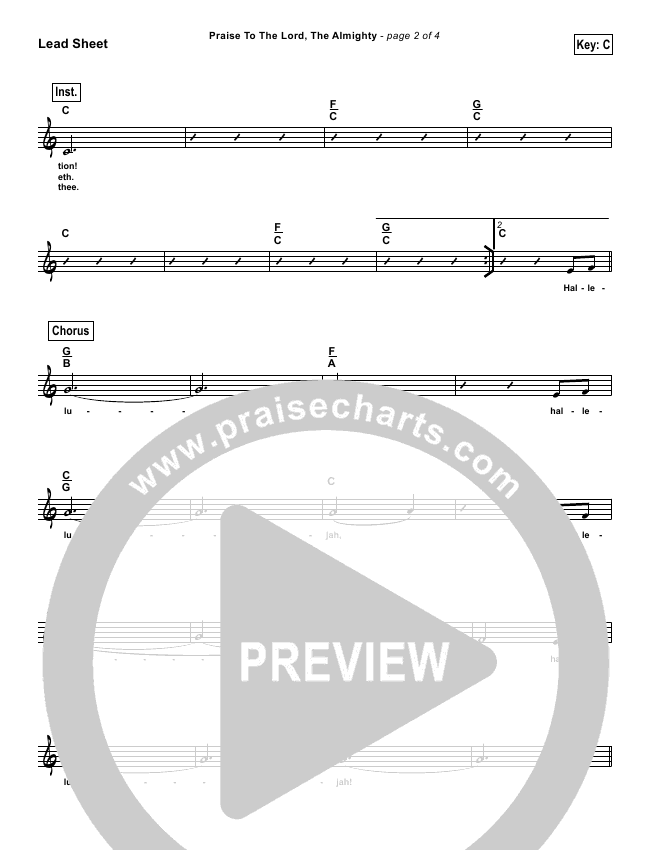 Praise To The Lord The Almighty (Simplified) Lead Sheet (Christy Nockels)