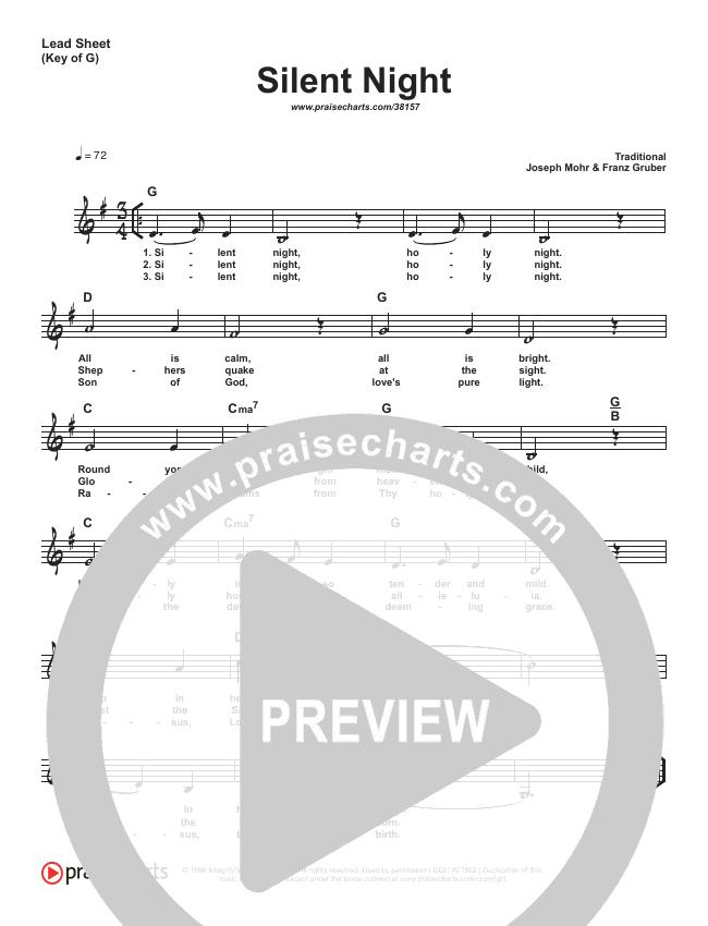 Silent Night (Simplified) Lead Sheet (Traditional Carol)