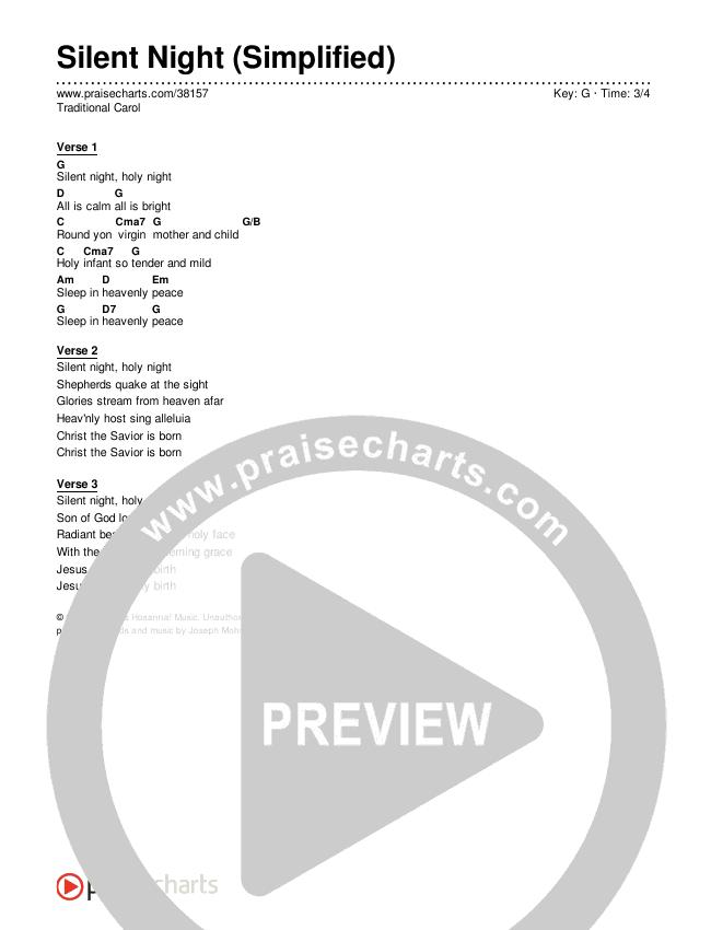 Silent Night (Simplified) Chords & Lyrics (Traditional Carol)
