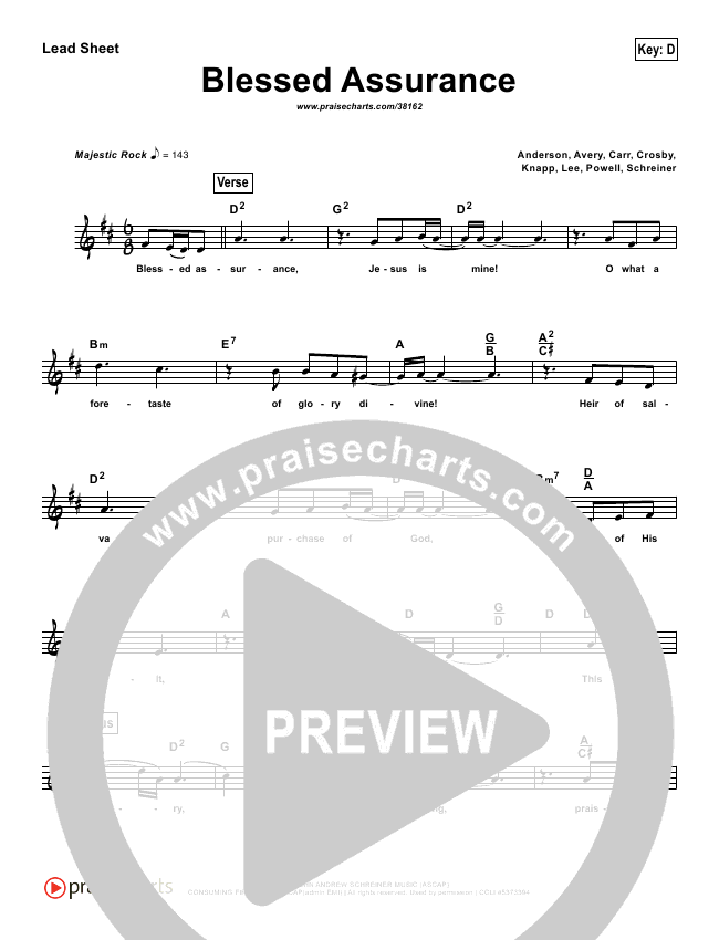 Blessed Assurance (Simplified) Lead Sheet (Third Day)