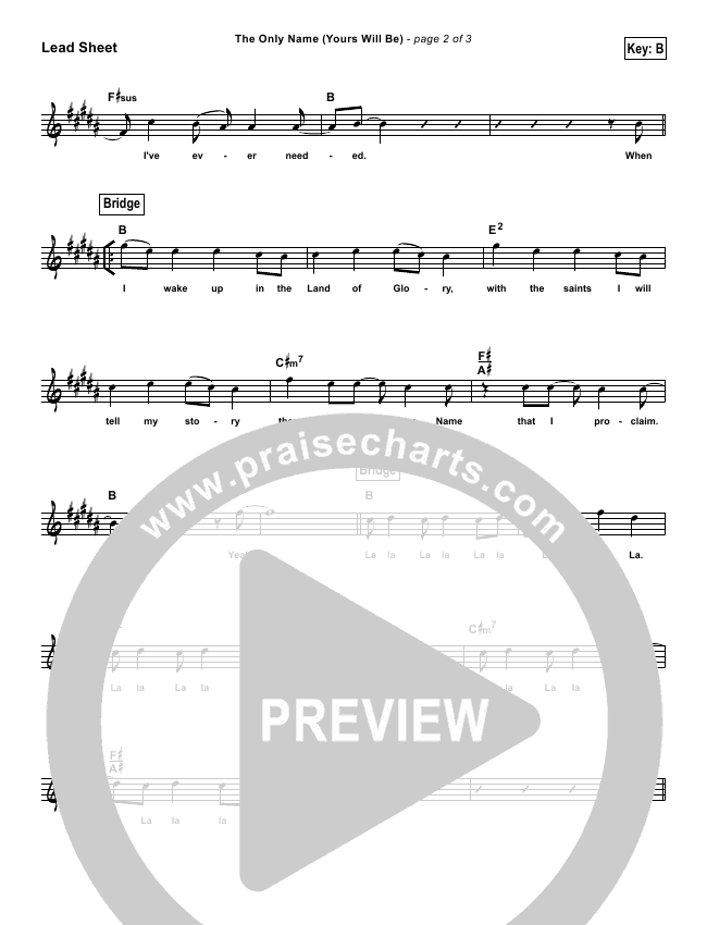 The Only Name (Yours Will Be) (Simplified) Lead Sheet ()