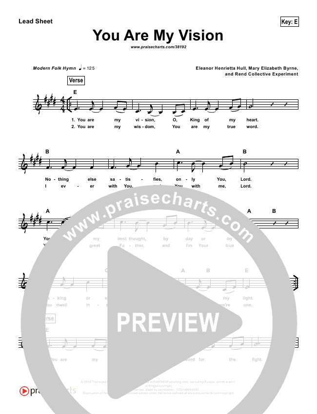 You Are My Vision (Simplified) Lead Sheet ()