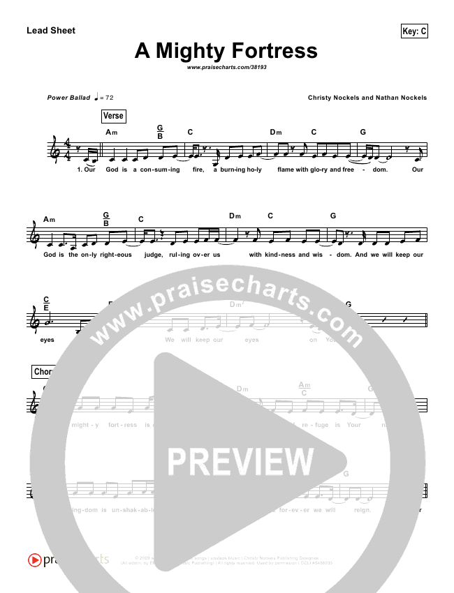 A Mighty Fortress (Simplified) Lead Sheet (Christy Nockels)