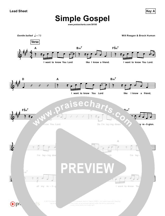 Simple Gospel (Simplified) Lead Sheet ()