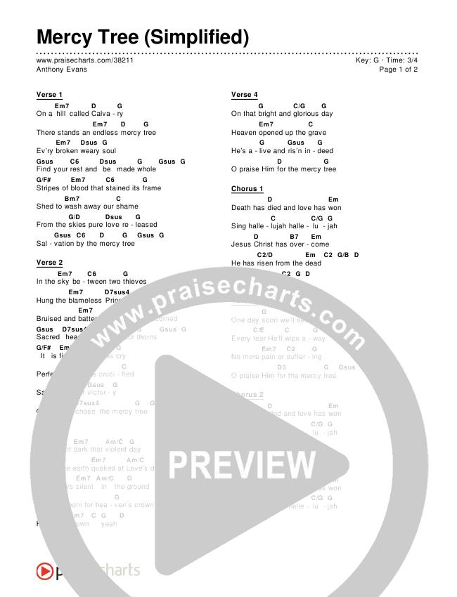 Mercy Tree (Simplified) Chords & Lyrics ()