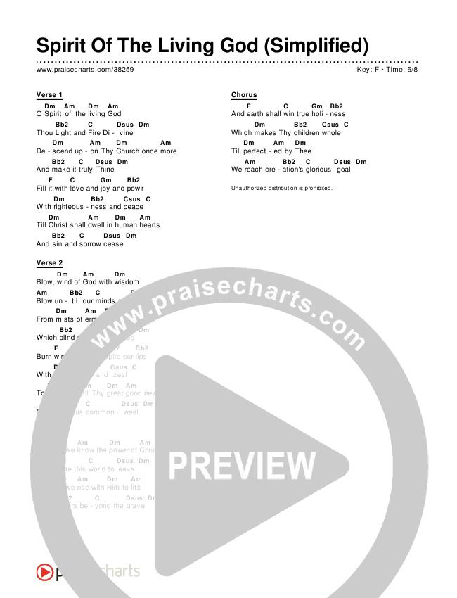 Spirit Of The Living God (Simplified) Chord Chart (Audrey Assad)